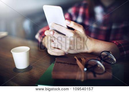 Hands Holding Smart Phone Connection Communication Concept