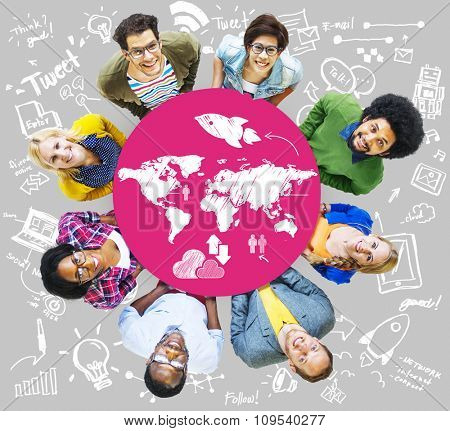 Friends Group Global Connection Youth Cooperation Ideas Creative Power Team Concept