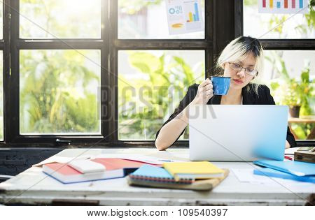 Businesswoman Concentrate Data Determine Device Concept
