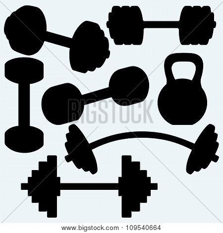 Barbell, barbell and kettlebell