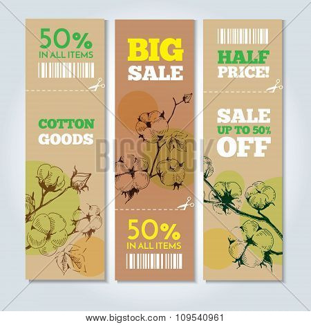 Vector banners whith stems of cotton plants.
