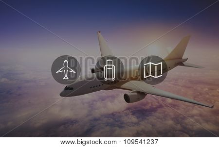 Plane Luggage Map Travel Trip Journey Concept