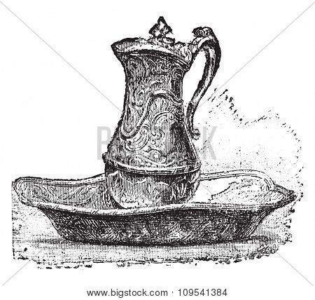 Ewer and bowl, after Jean-Antoine Leclair, vintage engraved illustration. Industrial encyclopedia E.-O. Lami - 1875.