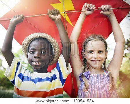 Children Play Kite Lifestyle Activity Concept