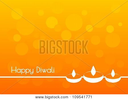 White text calligraphy inscription Happy Diwali festival India with incandescent light and colorful