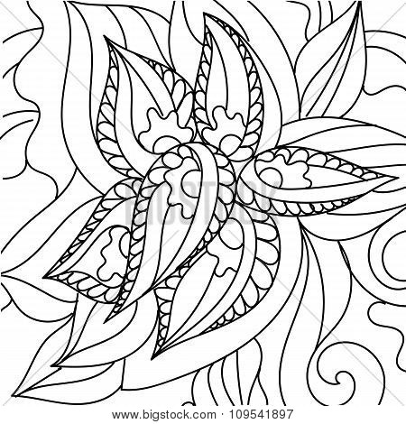 Asian ethnic floral retro doodle black and white background pattern. Henna paisley mehndi doodles de