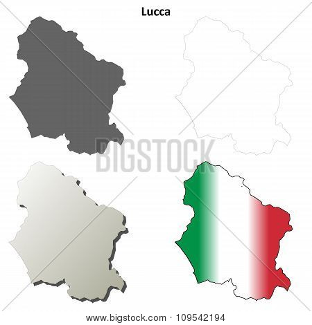 Lucca blank detailed outline map set