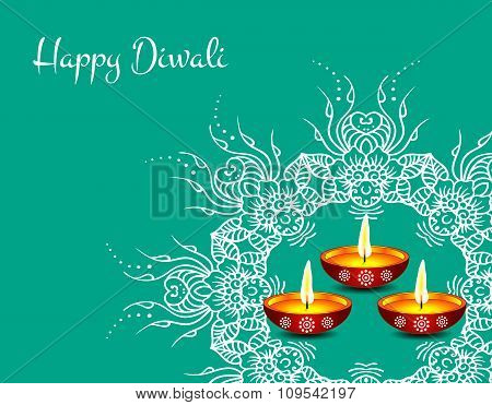 White text calligraphy inscription Happy Diwali festival India with lamp oil on blue background. Vec
