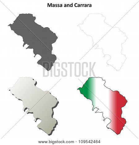 Massa and Carrara blank detailed outline map set