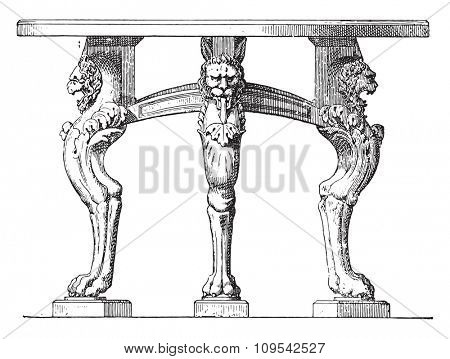 Feet shaped table lion paws, vintage engraved illustration. Private life of Ancient-Antique family-1881.