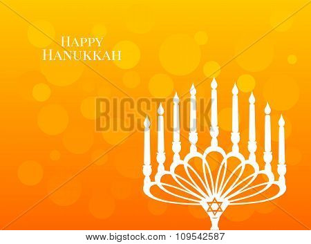 Beautiful lettering calligraphy white text. Calligraphy inscription Happy Hanukkah candle on a candl