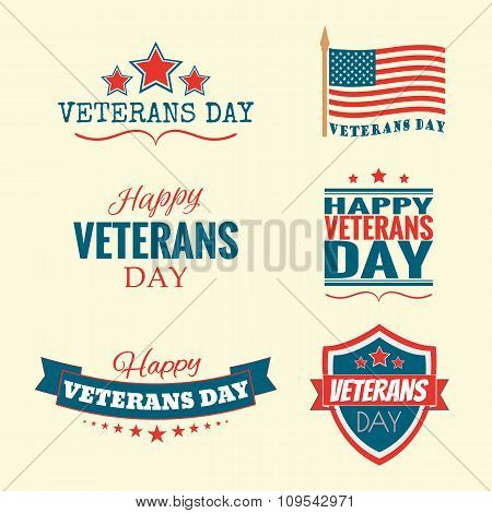 Text Happy Veterans Day set flag and stars vector illustration design banner or a stamp on white bac