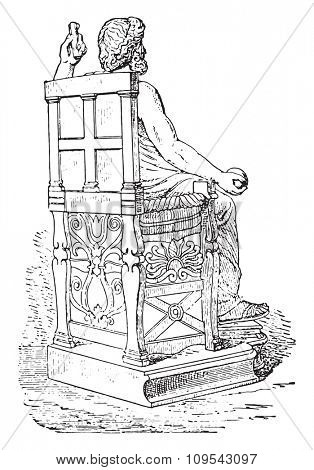 Greek seat, vintage engraved illustration. Private life of Ancient-Antique family-1881.