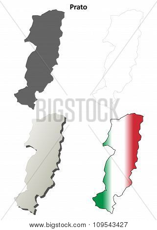 Prato blank detailed outline map set