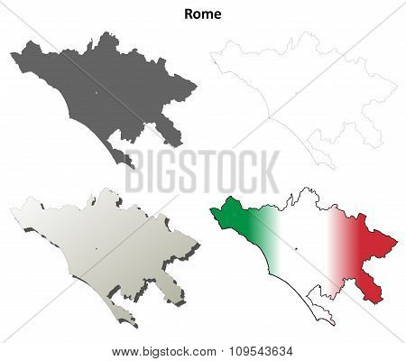 Rome blank detailed outline map set