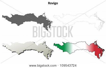Rovigo blank detailed outline map set
