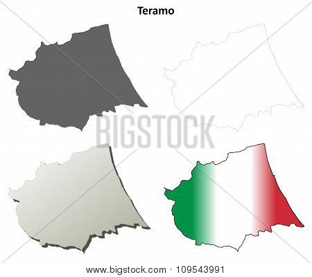 Teramo blank detailed outline map set