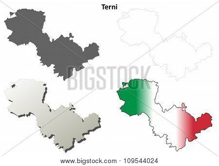 Terni blank detailed outline map set