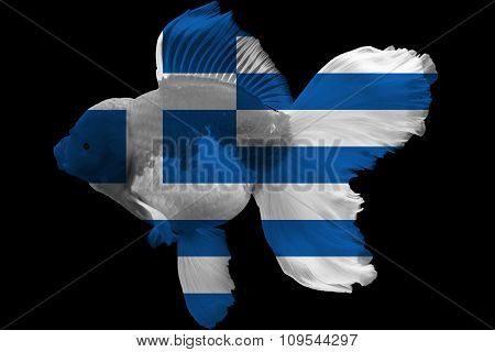 Flag of Greece on goldfish