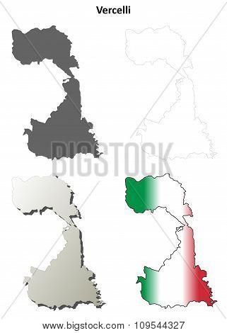 Vercelli blank detailed outline map set