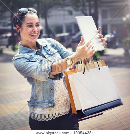 Woman Women Girl Shopping Mobility Business Bags Concept