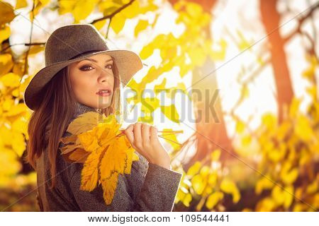Beautiful woman autumn portrait with leaves