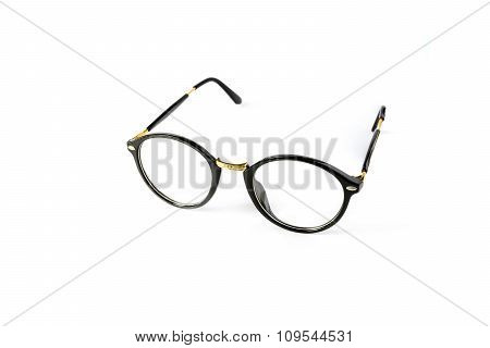 Black Nerd Glasses Isolated On White Background
