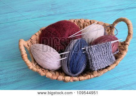 Yarn for knitting.