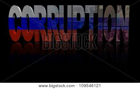Corruption text with Russian flag and currency illustration