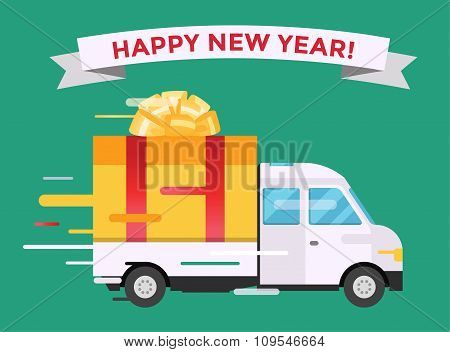 Delivery vector transport truck van Christmas gift box bow ribbon
