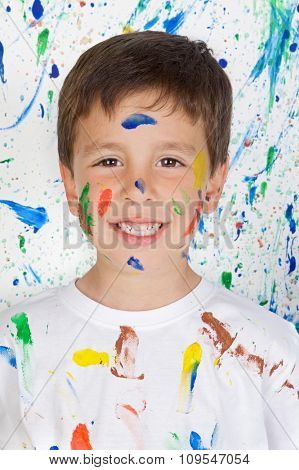 Happy and painted child stained paint