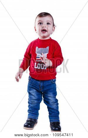 little happy boy one year old on a white background