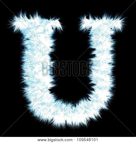 Concept or conceptual 3D blue and white or ice frost or frozen grass cool font part of collection isolated on black background