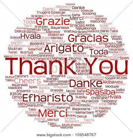Concept or conceptual red circle abstract thank you word cloud in different languages or multilingual for education or Thanksgiving Day