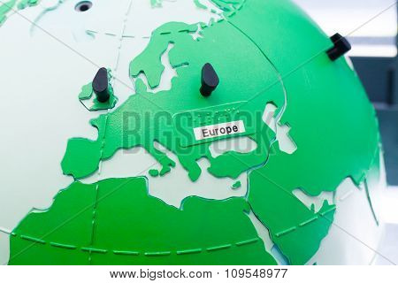 Detail Of Education Globe For Childs With Braille Writing. Europe Continent.