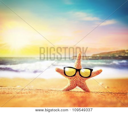 Sea Beach. Starfish In Sunglasses On The Seashore.