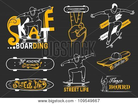 Set Of Skateboarding Emblems, Logo And Badges