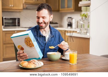 Young Man Enjoying His Cereal