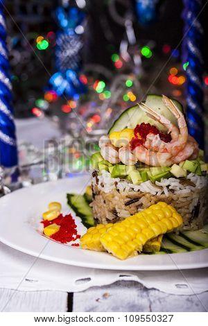 Appetizer Of Rice, Avocado And Shrimp