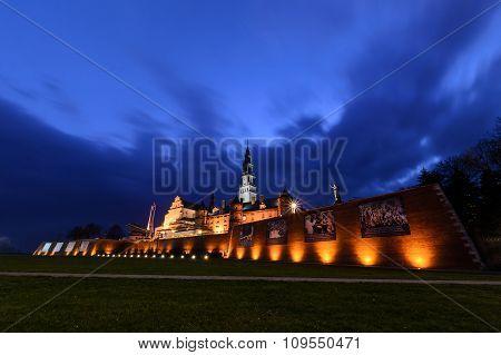 Jasna Gora Sanctuary In Czestochowa In The Evening.