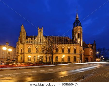 Chorzow Post Office Built In Neo-gothic Style In The Evening.