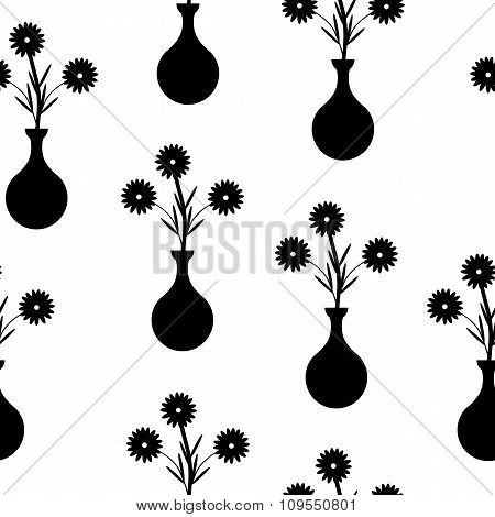 Vase With Flowers Seamless Pattern On White.