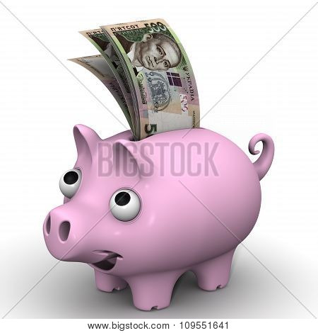 Pig piggy bank with banknotes of the Ukrainian hryvnia