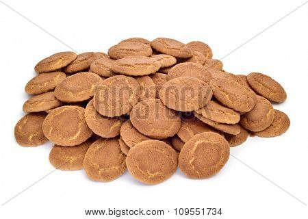 closeup of a pile of appetizing galletas campurrianas, typical cookies of Spain, on a white background