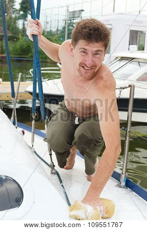 The joyful man in yacht