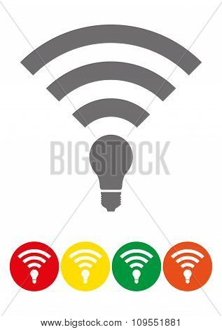 Set Of Colored Li-fi Wireless Access Icons