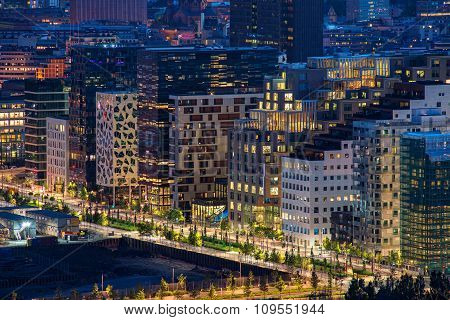 Modern street in Oslo city business center, Norway