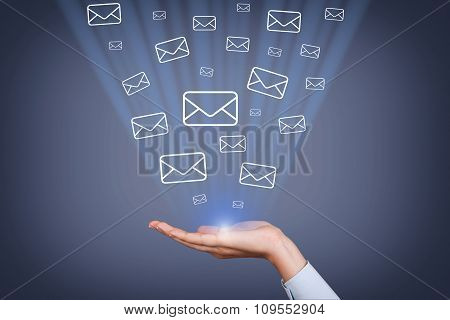 Email Sending Concept on Human Hand