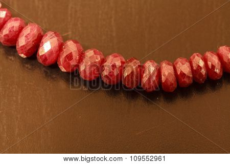 String of natural ruby beads