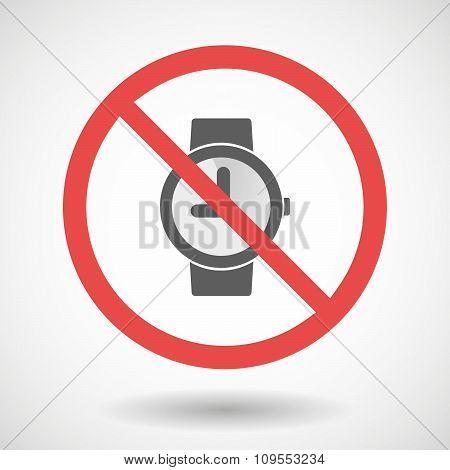 Forbidden Vector Signal With A Wrist Watch